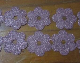 Set of 10 Pink Glitter Flowers