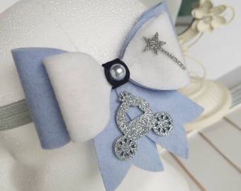 Cinderella Inspired Felt Bow, Wool Felt Bow, Girls Cinderella Bow