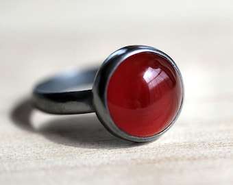 Carnelian Ring, Rust Deep Pumpkin Orange Carnelian Oxidized Sterling Silver Ring Autumn Fashion - Made in Your Size - Fruition