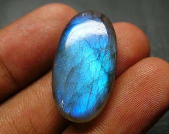 Blue Flashy Natural Labradorite Smooth Oval Cabochon - 27.5x15x6 MM - Labradorite Cabochons - High Quality - Wholesalegems