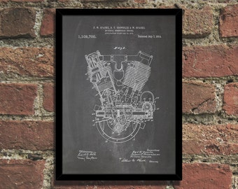 Engine Patent Print Steampunk Art Poster