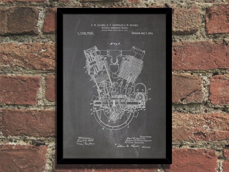 Engine patent print steampunk art poster zoom malvernweather Images