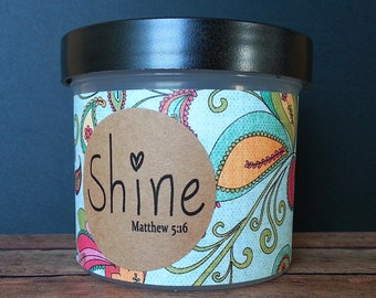 "Christian Scripture Jar, Bible Verses, Religious gift, gift for Christian, Scripture Memory, Teen gift, Graduation, Shine, ""Whimsy"""