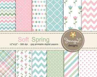 Soft Spring Digital Papers, Tulip Flower, Mother's Day, Easter, Girl Digital Scrapbooking Paper, Springtime,