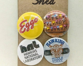 Stranger Things - 4 pin button badge set (set 1) - Hawkins - Sci fi, Horror - TV show