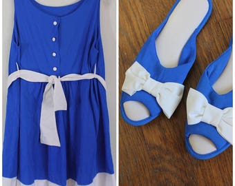Vintage 1960s Nightie and Slipper Set - Fabulous Cobalt Blue and White 60s Lingerie Set - Size Small