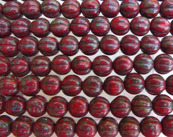 8mm Opaque Crimson Picasso Czech Glass Melon Beads - Qty 25 (BS92)