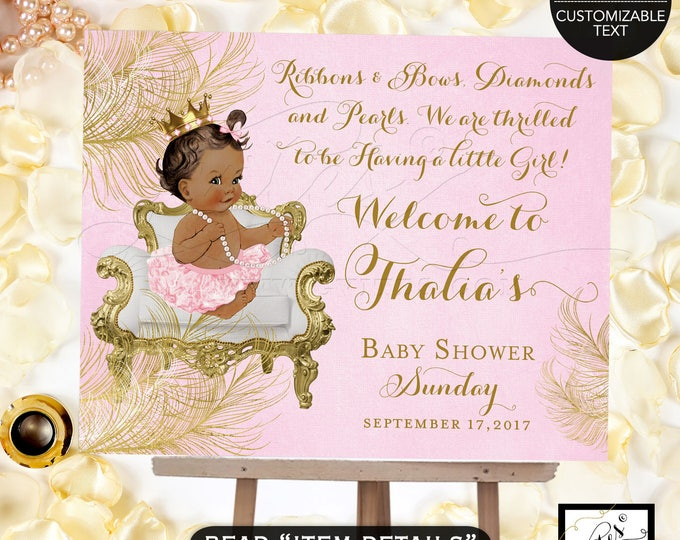 Princess welcome sign baby shower, pink and gold, diamonds pearls, african american baby, gold crown, Digital, Gvites.