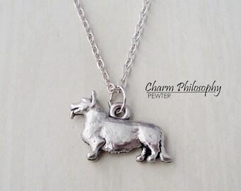 Corgie Necklace - Corgie Dog Charm - Antique Silver Pewter Jewelry