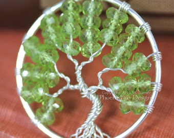 Peridot Tree of Life Pendant Silver Wire Wrapped Jewelry Woodland Forest Necklace August Birthstone Birthstone Gemstones Spring Green RTS