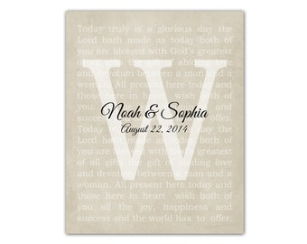 Custom Vows, Family Gift, Family Last Name, Wedding Anniversary Gift for Wife for Husband Song Wedding Vows Typography Print Mom Parents