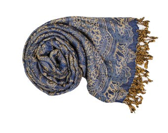 Blue Pashmina Ultra Smooth Cashmere Feel Soft Shawl Style Wrap IN10