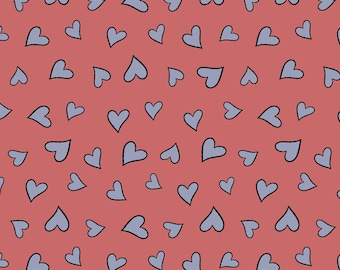 Knuffle Bunny fabric from  Cloud Nine, Hearts in Pink, Organic Cotton, HALF yard