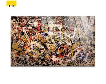 Plexiglass square Prints on acrylic glass-Jackson Pollock-convergences-Yellow BUS