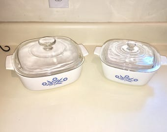 Corning 2 Blue Cornflower lidded casserole dishes 2 quart and 1 1/2 quart Blast from the Past retro cookware