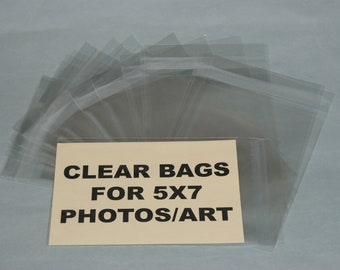Clear Bags for Photos/Art (50) Crystal Clear 5 x 7 Bags