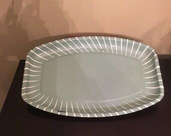 Vintage 1950s mid century enamel metal tray platter