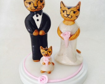 Unique Cat Wedding Cake Topper with Flower girl. Adorable Wedding Cake decoration