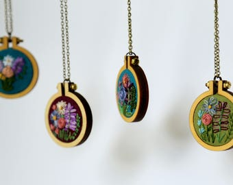 Custom Floral Embroidery Necklace