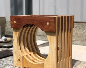 Japanese redwood and pine side table
