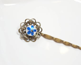 A Pearl and Flower Antique Bobby Pins - blue forget me not flower