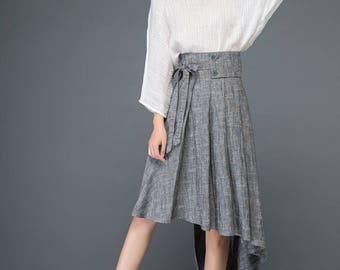 Gray linen skirt, summer skirt, womens skirts, irregular skirt, asymmetrical skirt, bow skirt, cute skirt, pleated skirt, flare skirt C1159