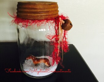 Winter Dachshund Doxie Mason Jar Snow Globe