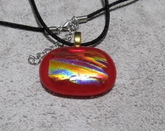 Fused Glass Necklace.  Dichroic Glass Pendant, Fused Glass Jewelry