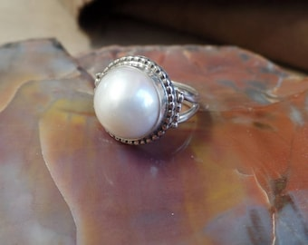 Pearl Ring Solitaire Ring, Sterling Silver Pearl Ring, Under 75, Pearl Jewelry, Gift For Her, June birthstone, Ladies Pearl Ring, 1278