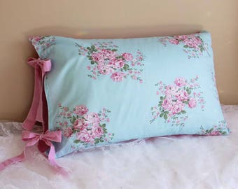 Aqua Blue Victorian Shabby Chic Rose Cottage French Parisian Wedding gift Pillow Sham Pillowcase