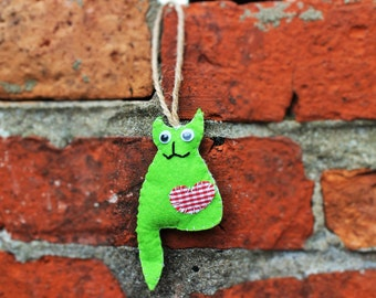 Handmade Blue Felt Kitty Cat Kitten Ornament Christmas tree decor Christmas gift idea