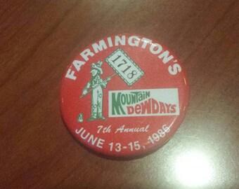 Vintage Mountain Dew Days 7th Annual - Farmington 1986 Pinback Button