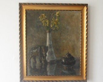 Antique  Impressionism painting ,still life, oil on canvas around 1900s.
