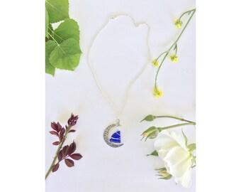 Sea Glass Moon Pendant Necklace