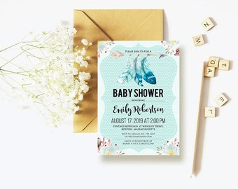 Boy Baby Shower Invitations - Boho Baby Shower Invite, Watercolor Arrow & Feathers Tribal Boho Shower, Rustic Baby Shower Printable DOWNLOAD