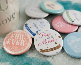 Set of 12 personalized Magnetic badges + kit mirror and matching bottle opener