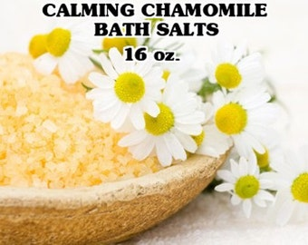 Chamomile Bath Salts 16 oz. -  Chamomile Essential Oils -  Bath And Beauty - Aromatherapy Bath Salts - Sea Salt Bath