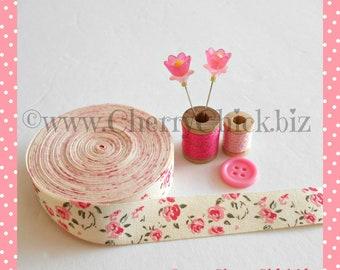 Floral Twill Tape - Printed Floral ribbon - Ribbon Label - Sewing Label - Cotton ribbon - Sewing ribbon - Cotton twill tape - ECS