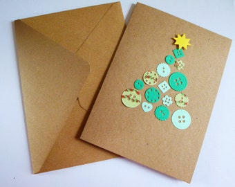 Homemade Christmas card - christmas tree - envelope included