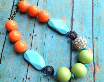 Color blocked boho- wood, lucite, acrylic, rhinestone necklace