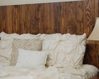 Honey Oil Based Stain – Queen Hanger Headboard with Vertical Boards. Mounts on wall. Adjust height to your convenience. Easy installation.