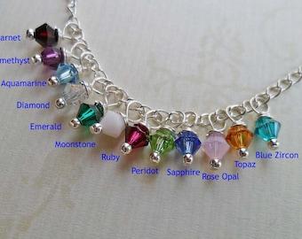 Add-on Crystal or Pearl- Birthstone Pearl - Birthstone Crystal - Birthstone Charm - Swarovski Crystal Pearl -  S0185