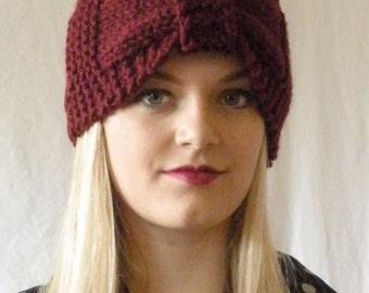 Chunky Cozy Knitted Turban Headband Burgandy Red Womens Accesssory