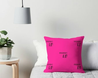 Feminist AF quote pink throw cushion - cushion - motivational quote - pink cushion - inspo quote - Inspirational - As F**k quote - Feminism