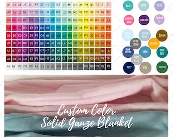 Single Layer CUSTOM DESIGN COLORS - Solid Color Gauze Blanket - Kids Blanket, Toddler Throw Blanket - Create your Solid Color Muslin Blanket