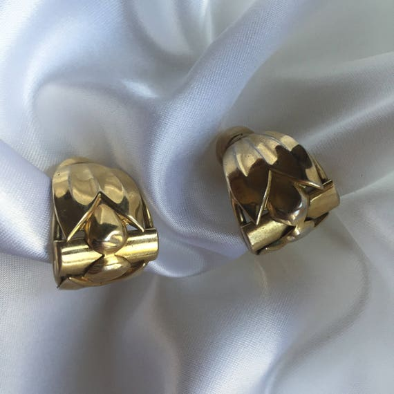 art deco TULIP gold clip on earrings retro vintage clip-ons 70s nouveau inspired calla lily big earrings jewelry gift present