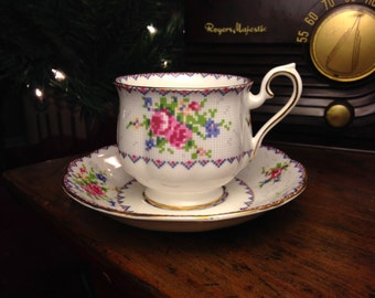 Vintage Royal Albert Bone China Teacup and Saucer Petit Point Pattern