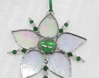 stained glass suncatcher green beaded decoration, home and living gift, nature decor, window ornament, Mothers day gift, green glass , F