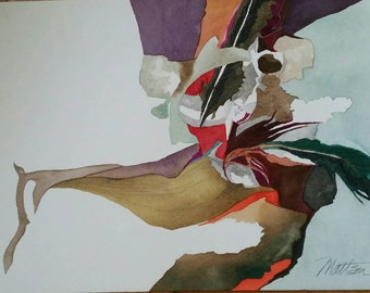 """Feather Song Series """"Strange Passages""""  one of a kind original watercolor."""