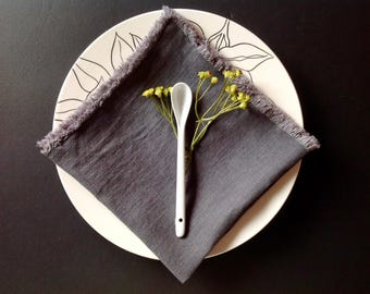 Set of 4 Dark grey linen napkins, Charcoal napkins, Grey cloth napkins, Eco friendly, Organic napkins, Made in the USA